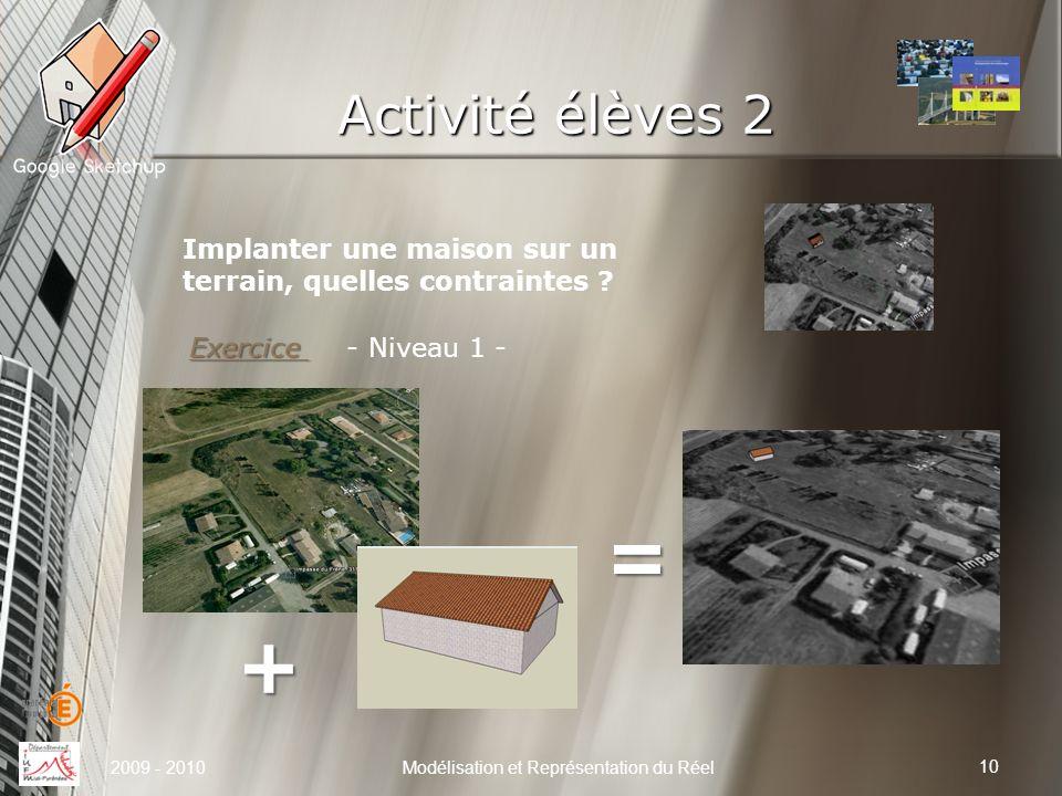 Activité élèves 2 10 Modélisation et Représentation du Réel Implanter une maison sur un terrain, quelles contraintes ? 2009 - 2010 Exercice Exercice -