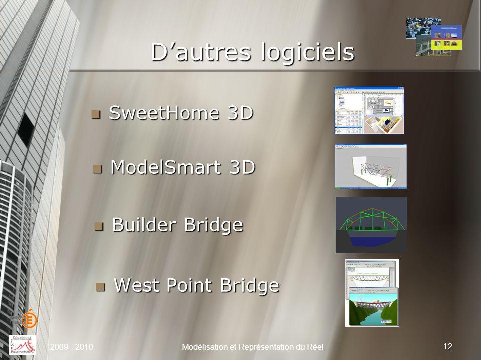 Dautres logiciels 12 Modélisation et Représentation du Réel SweetHome 3D SweetHome 3D 2009 - 2010 ModelSmart 3D ModelSmart 3D Builder Bridge Builder B