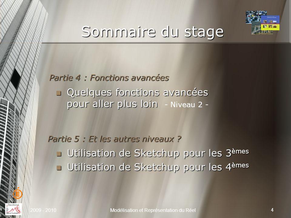 Sommaire du stage Modélisation et Représentation du Réel 4 Partie 5 : Et les autres niveaux ? Utilisation de Sketchup pour les 3 èmes Utilisation de S