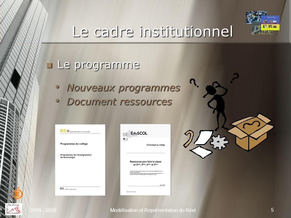 Le cadre institutionnel Nouveaux programmes Nouveaux programmes Document ressources Document ressources Le programme Le programme 5 Modélisation et Re