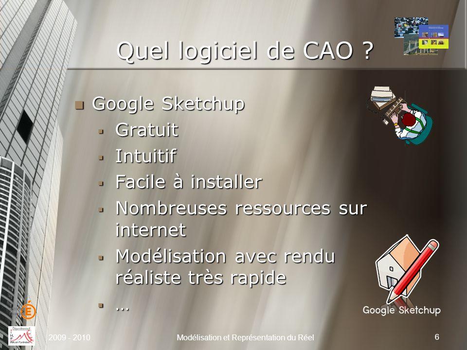 Quel logiciel de CAO ? Google Sketchup Google Sketchup Gratuit Gratuit Intuitif Intuitif Facile à installer Facile à installer Nombreuses ressources s