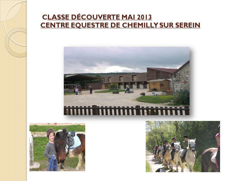 CLASSE DÉCOUVERTE MAI 2013 CENTRE EQUESTRE DE CHEMILLY SUR SEREIN CLASSE DÉCOUVERTE MAI 2013 CENTRE EQUESTRE DE CHEMILLY SUR SEREIN