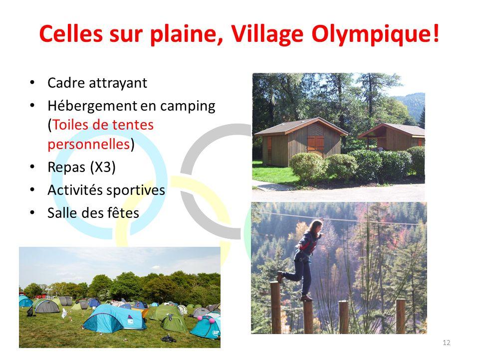 Celles sur plaine, Village Olympique! Cadre attrayant Hébergement en camping (Toiles de tentes personnelles) Repas (X3) Activités sportives Salle des