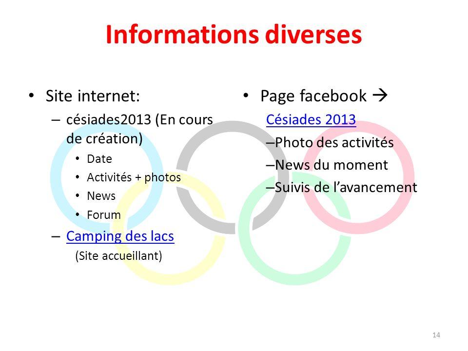 Informations diverses Site internet: – césiades2013 (En cours de création) Date Activités + photos News Forum – Camping des lacs Camping des lacs (Sit