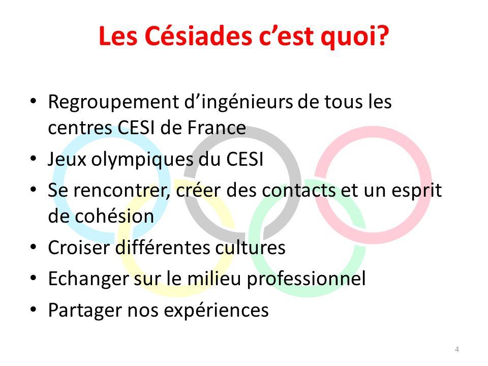 Les Césiades cest quoi? Regroupement dingénieurs de tous les centres CESI de France Jeux olympiques du CESI Se rencontrer, créer des contacts et un es