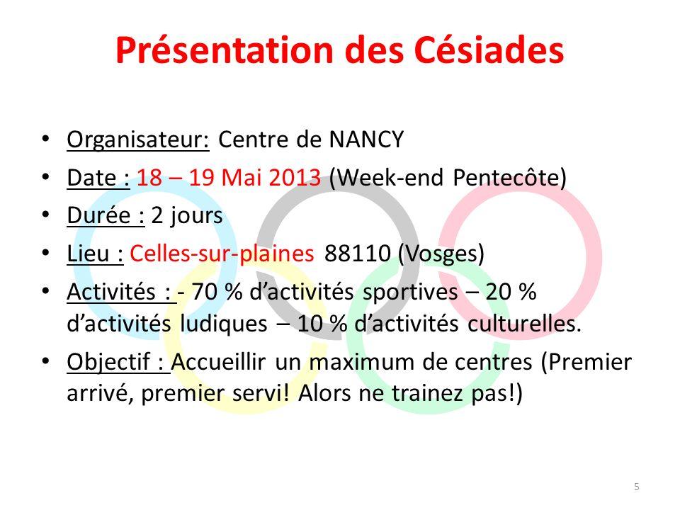 Présentation des Césiades Organisateur: Centre de NANCY Date : 18 – 19 Mai 2013 (Week-end Pentecôte) Durée : 2 jours Lieu : Celles-sur-plaines 88110 (