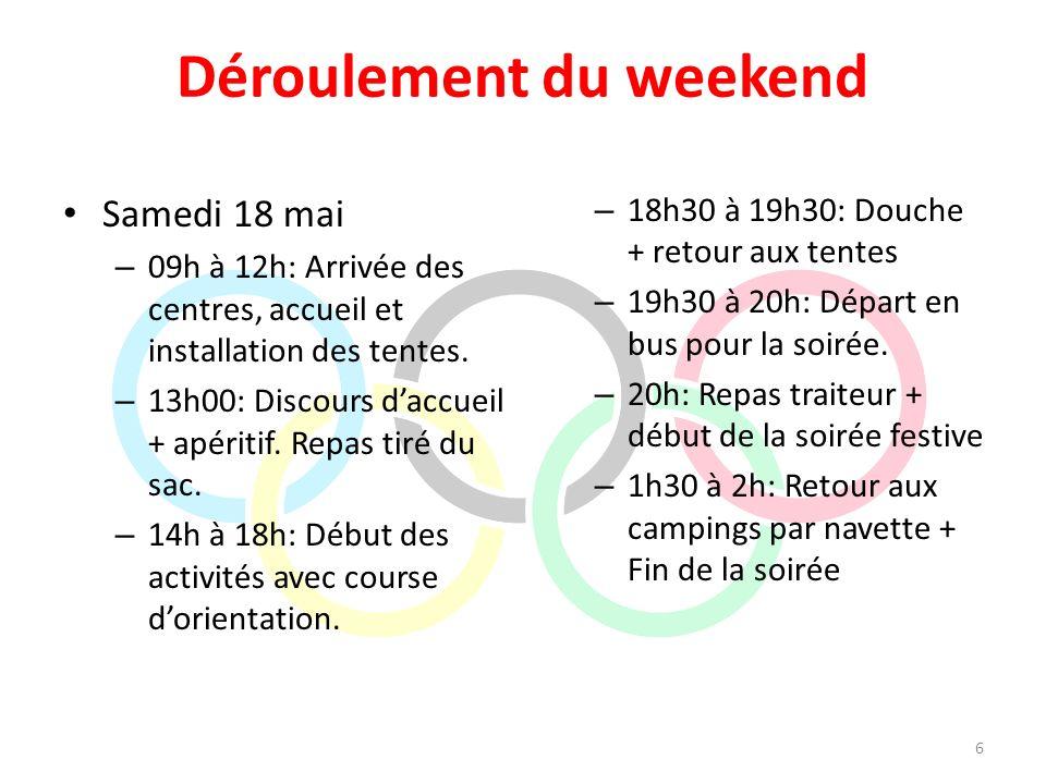 Déroulement du weekend Samedi 18 mai – 09h à 12h: Arrivée des centres, accueil et installation des tentes. – 13h00: Discours daccueil + apéritif. Repa