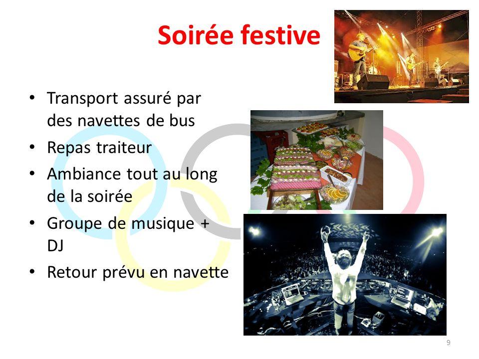 Soirée festive Transport assuré par des navettes de bus Repas traiteur Ambiance tout au long de la soirée Groupe de musique + DJ Retour prévu en navet