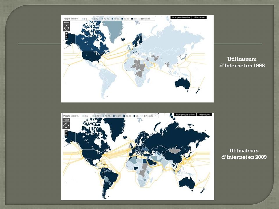 Utilisateurs dInternet en 1998 Utilisateurs dInternet en 2009