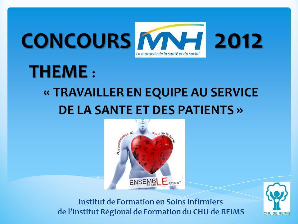 CONCOURS MNH 2012 THEME THEME : « TRAVAILLER EN EQUIPE AU SERVICE DE LA SANTE ET DES PATIENTS » Institut de Formation en Soins Infirmiers de lInstitut