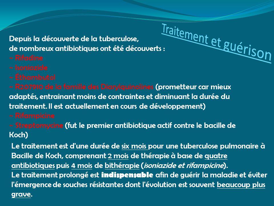 Depuis la découverte de la tuberculose, de nombreux antibiotiques ont été découverts : ~ Rifadine ~ Isoniazide ~ Éthambutol ~ R207910 de la famille de