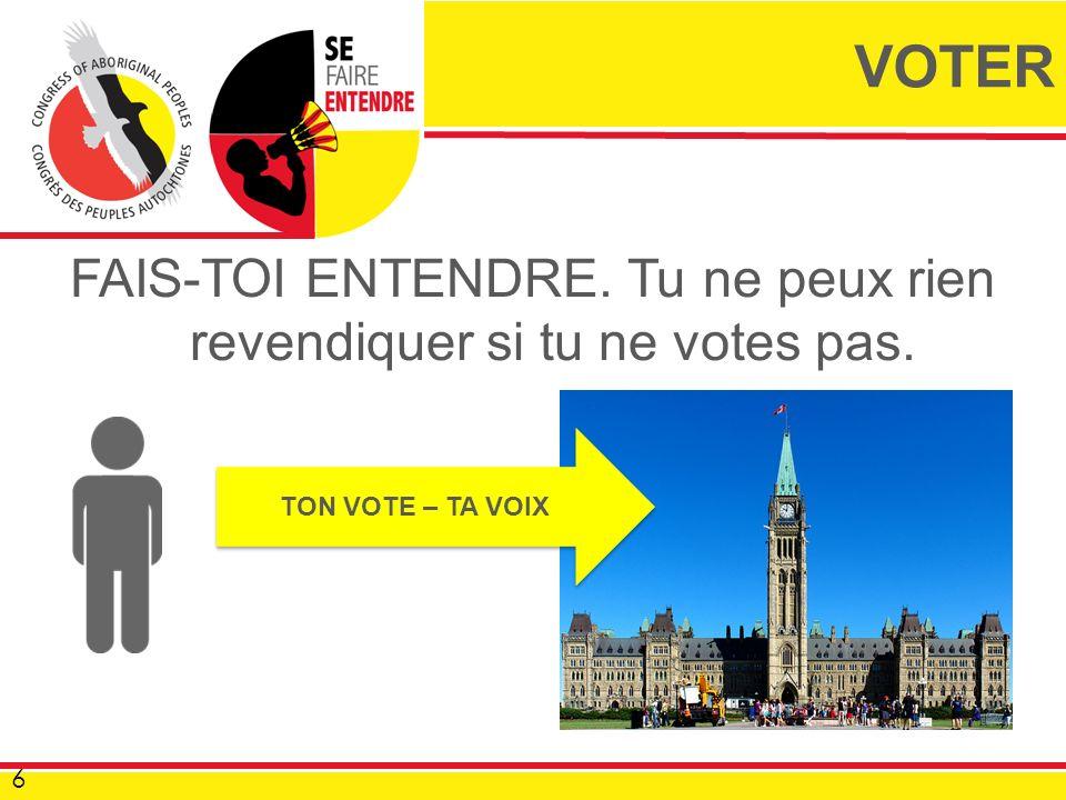 FAIS-TOI ENTENDRE. Tu ne peux rien revendiquer si tu ne votes pas. 6 VOTER TON VOTE – TA VOIX