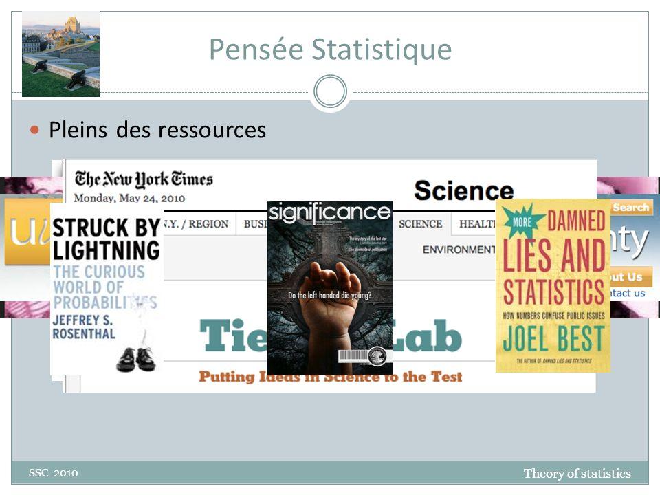 Pensée statistique 1 SSC 2010 Si une statistique était la réponse, quelle est la question.