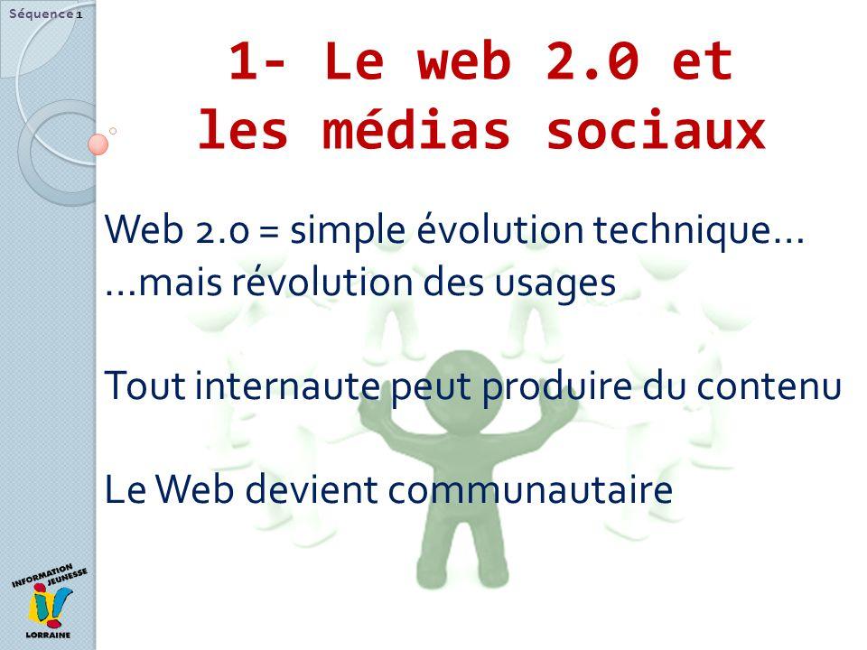 1- Le web 2.0 et les médias sociaux Séquence 1 Web 2.0 = simple évolution technique… …mais révolution des usages Tout internaute peut produire du cont