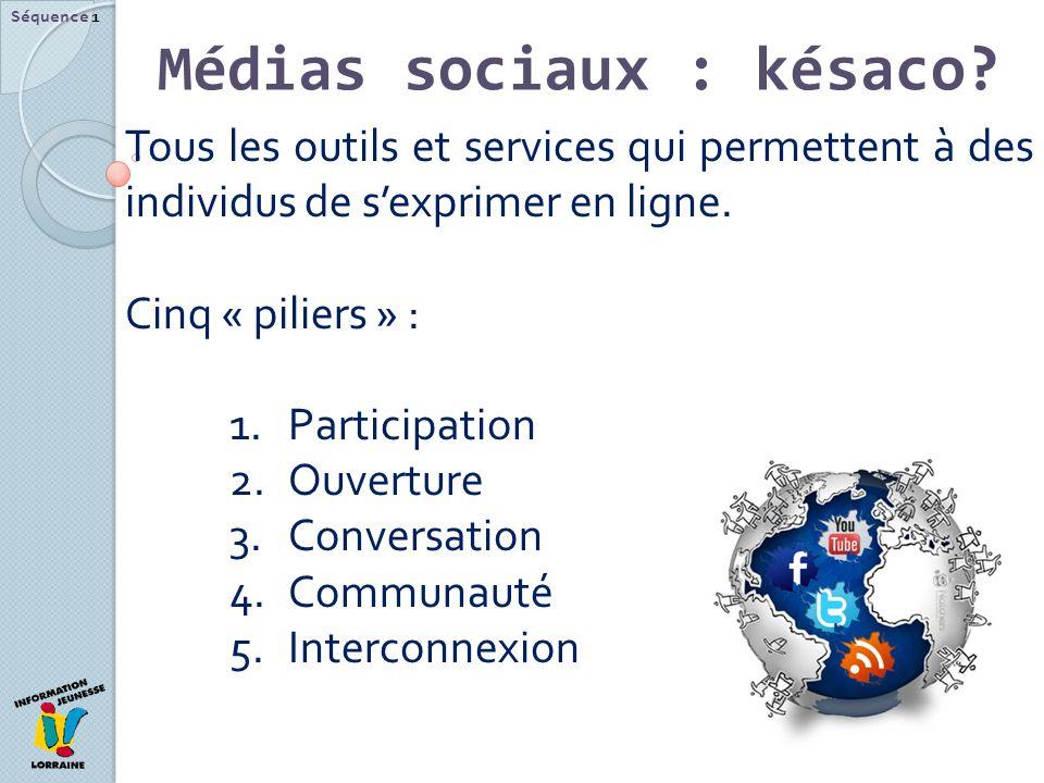 Médias sociaux : késaco? Séquence 1 Tous les outils et services qui permettent à des individus de sexprimer en ligne. Cinq « piliers » : 1.Participati