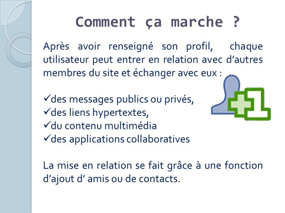 Après avoir renseigné son profil, chaque utilisateur peut entrer en relation avec dautres membres du site et échanger avec eux : des messages publics