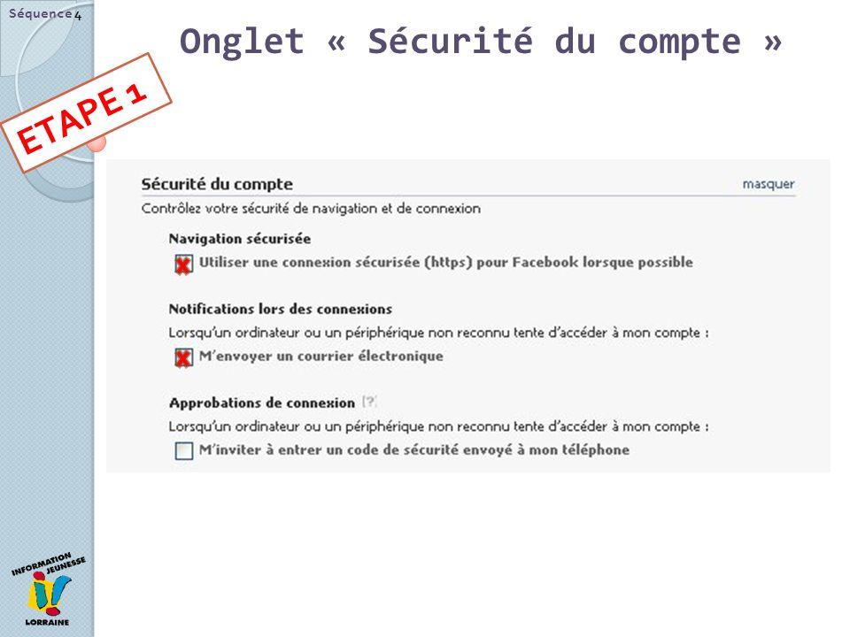 Séquence 4 Onglet « Sécurité du compte » ETAPE 1