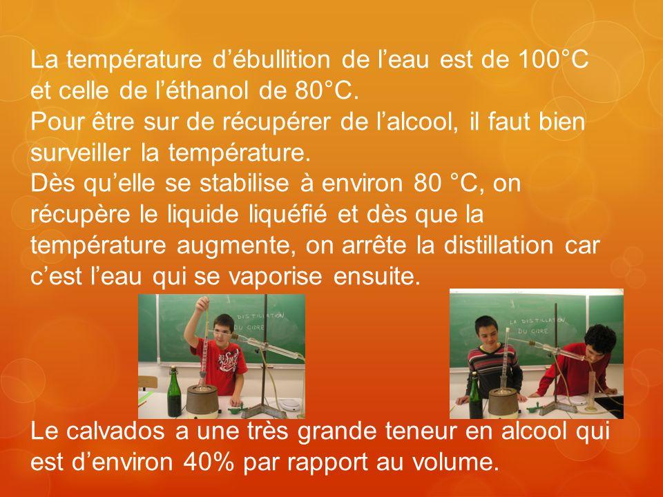 La température débullition de leau est de 100°C et celle de léthanol de 80°C. Pour être sur de récupérer de lalcool, il faut bien surveiller la tempér