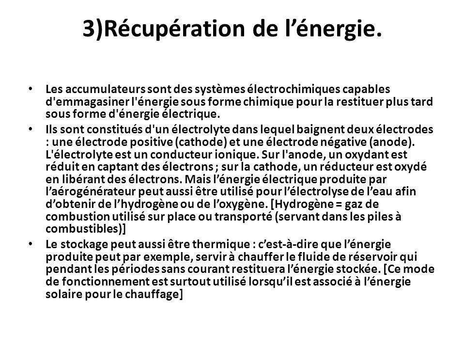 3)Récupération de lénergie. Les accumulateurs sont des systèmes électrochimiques capables d'emmagasiner l'énergie sous forme chimique pour la restitue