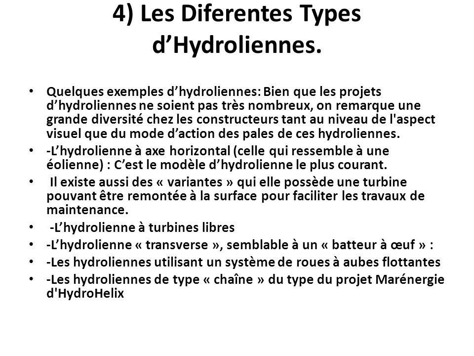 4) Les Diferentes Types dHydroliennes. Quelques exemples dhydroliennes: Bien que les projets dhydroliennes ne soient pas très nombreux, on remarque un
