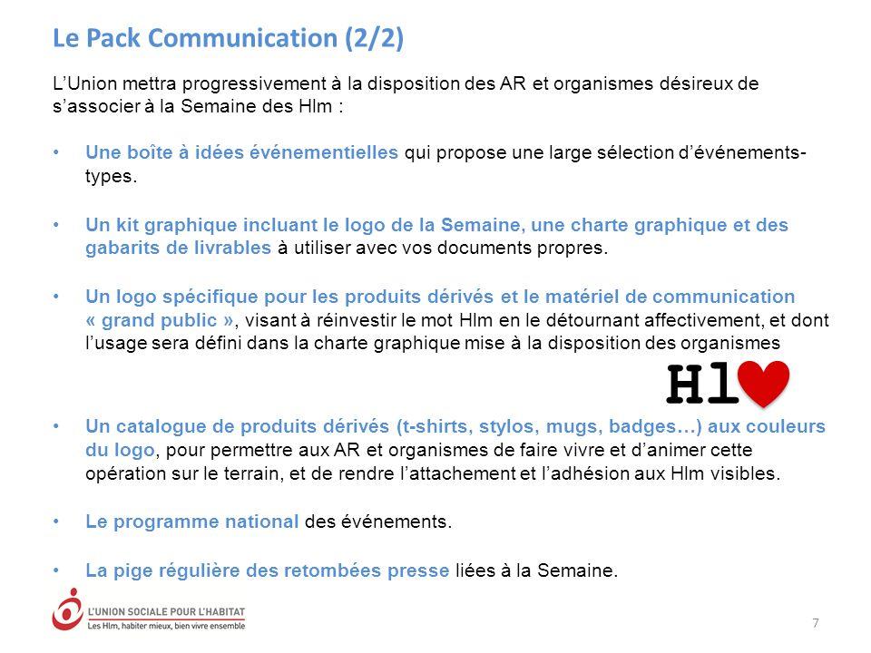 Le Pack Communication (2/2) 7 LUnion mettra progressivement à la disposition des AR et organismes désireux de sassocier à la Semaine des Hlm : Une boîte à idées événementielles qui propose une large sélection dévénements- types.