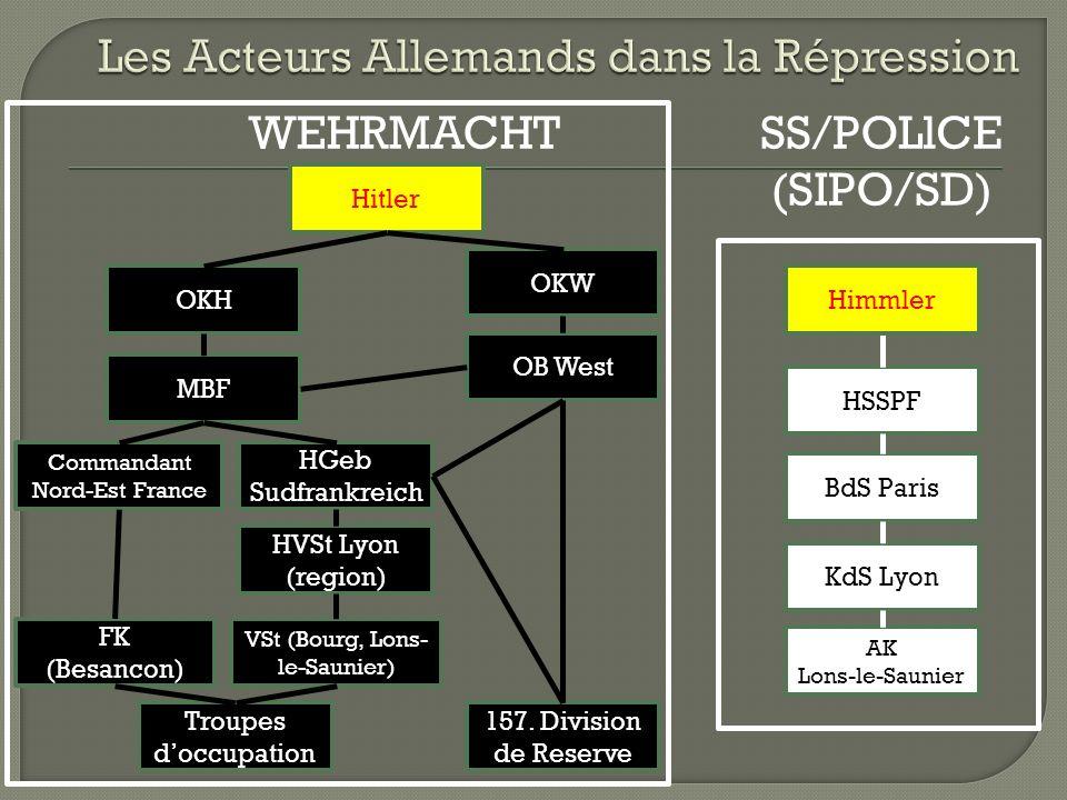 VSt (Bourg, Lons- le-Saunier) HVSt Lyon (region) HGeb Sudfrankreich MBF OKH Hitler OKW OB West 157.