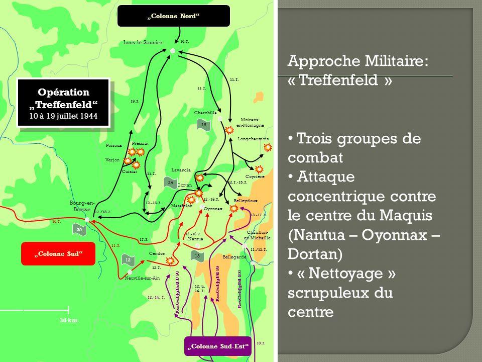 Approche Militaire: « Treffenfeld » Trois groupes de combat Attaque concentrique contre le centre du Maquis (Nantua – Oyonnax – Dortan) « Nettoyage » scrupuleux du centre