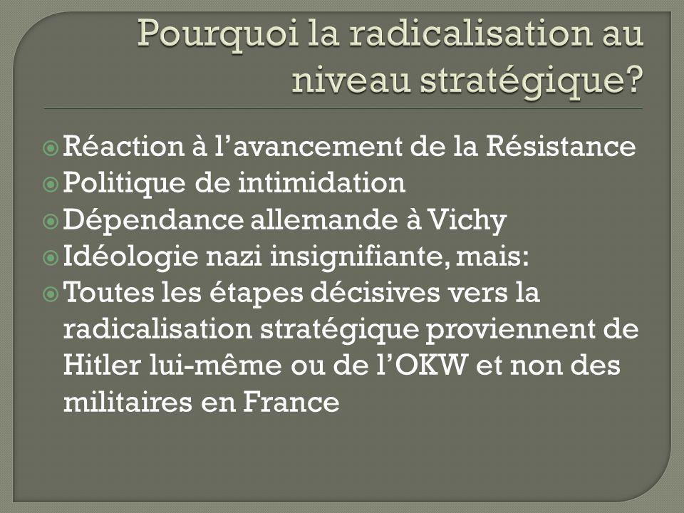Réaction à lavancement de la Résistance Politique de intimidation Dépendance allemande à Vichy Idéologie nazi insignifiante, mais: Toutes les étapes décisives vers la radicalisation stratégique proviennent de Hitler lui-même ou de lOKW et non des militaires en France