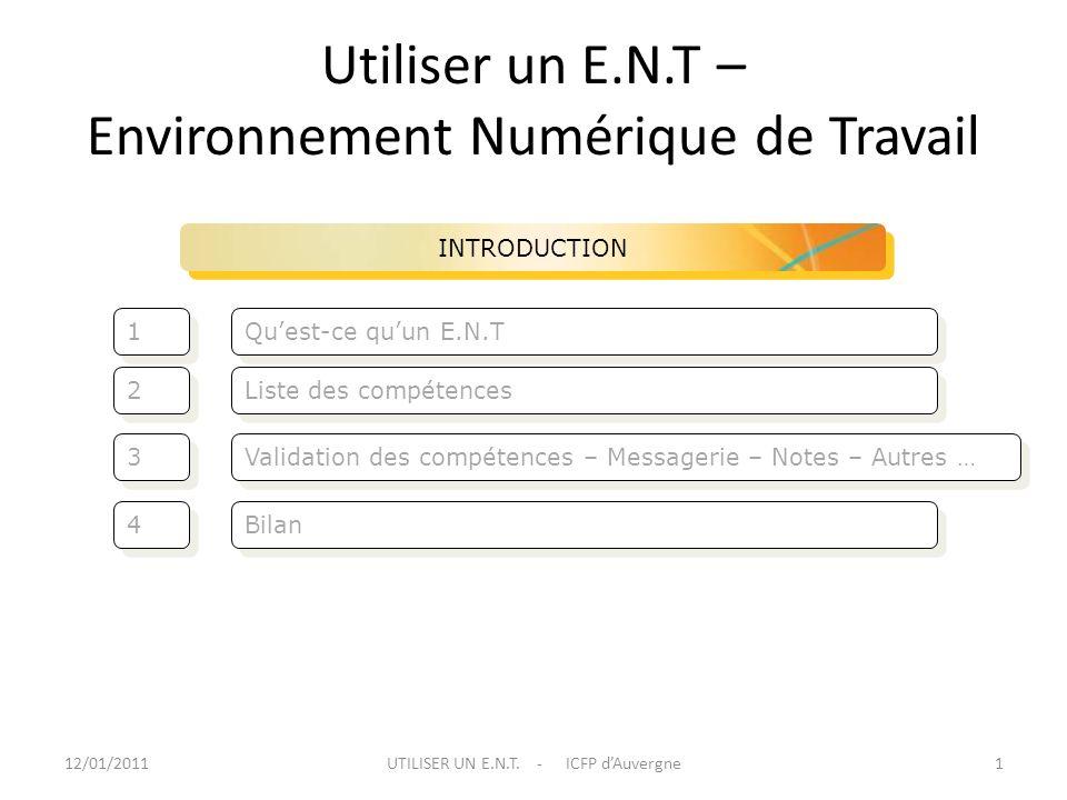 Utiliser un E.N.T – Environnement Numérique de Travail Validation des compétences – Messagerie – Notes – Autres … Liste des compétences 3 3 2 2 INTROD