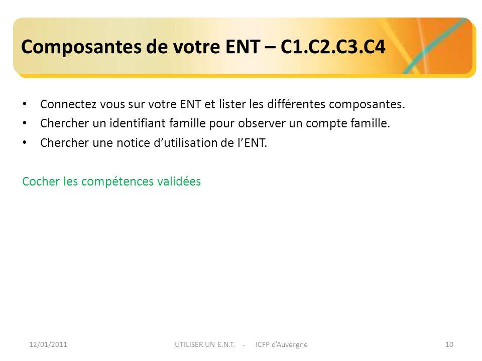 12/01/2011UTILISER UN E.N.T. - ICFP dAuvergne10 Composantes de votre ENT – C1.C2.C3.C4 Connectez vous sur votre ENT et lister les différentes composan