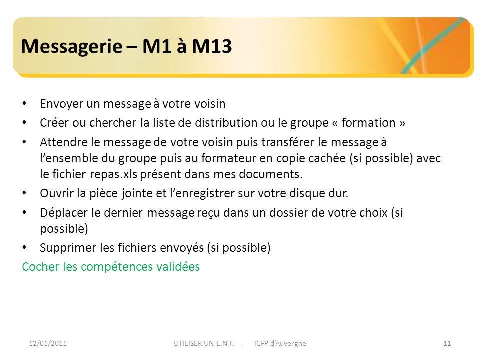 12/01/2011UTILISER UN E.N.T. - ICFP dAuvergne11 Messagerie – M1 à M13 Envoyer un message à votre voisin Créer ou chercher la liste de distribution ou