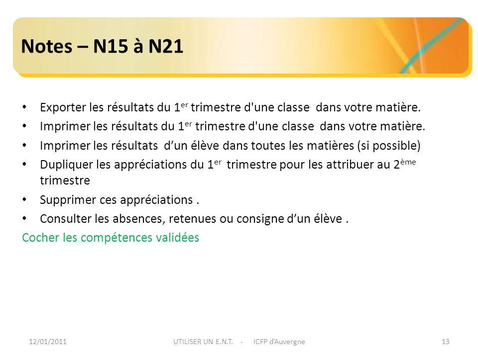 12/01/2011UTILISER UN E.N.T. - ICFP dAuvergne13 Notes – N15 à N21 Exporter les résultats du 1 er trimestre d'une classe dans votre matière. Imprimer l