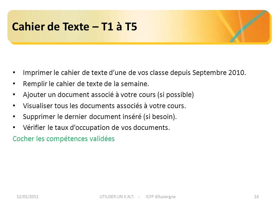 12/01/2011UTILISER UN E.N.T. - ICFP dAuvergne14 Cahier de Texte – T1 à T5 Imprimer le cahier de texte dune de vos classe depuis Septembre 2010. Rempli