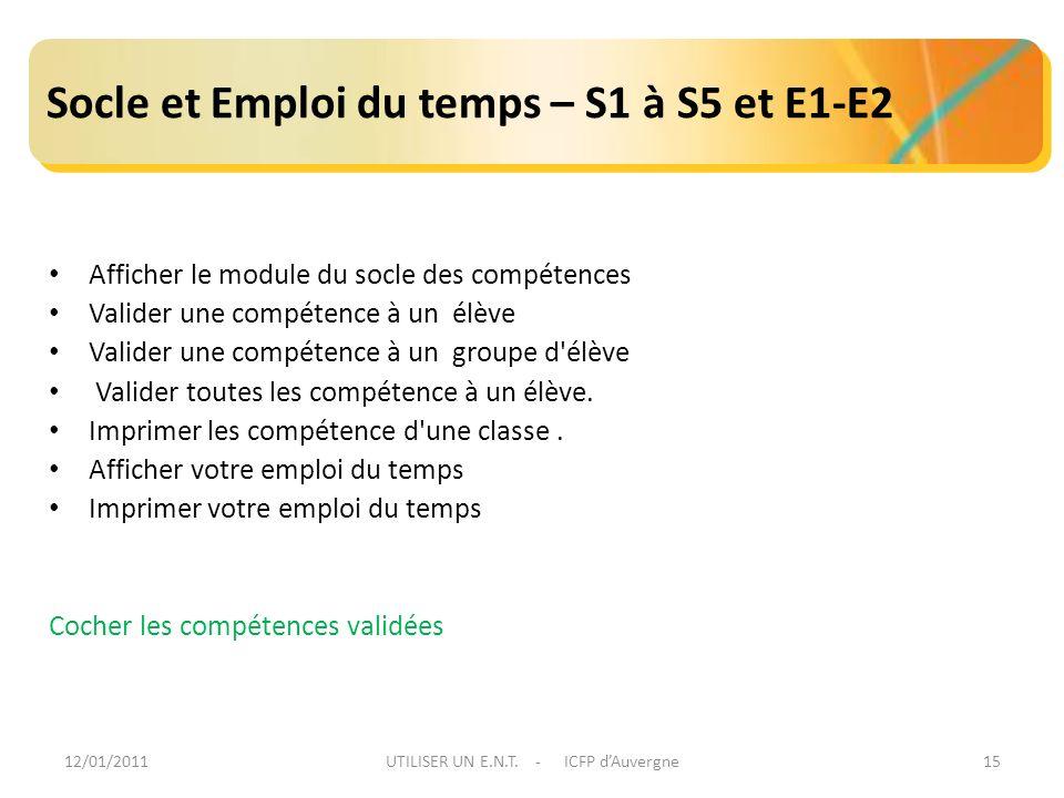 12/01/2011UTILISER UN E.N.T. - ICFP dAuvergne15 Socle et Emploi du temps – S1 à S5 et E1-E2 Afficher le module du socle des compétences Valider une co