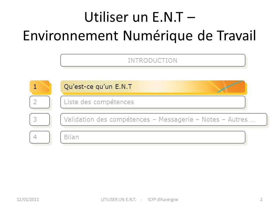 Utiliser un E.N.T – Environnement Numérique de Travail Validation des compétences – Messagerie – Notes – Autres … Liste des compétences 3 3 2 2 Bilan