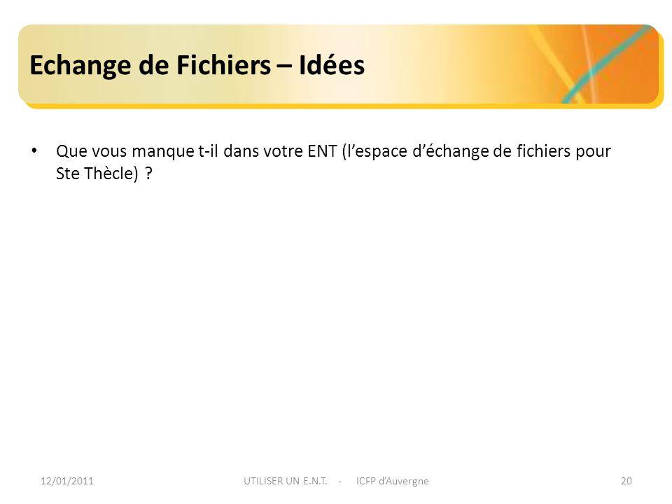 12/01/2011UTILISER UN E.N.T. - ICFP dAuvergne20 Echange de Fichiers – Idées Que vous manque t-il dans votre ENT (lespace déchange de fichiers pour Ste