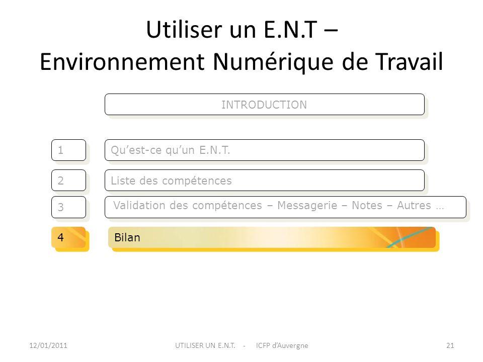 Utiliser un E.N.T – Environnement Numérique de Travail Liste des compétences Quest-ce quun E.N.T. 2 2 1 1 3 3 12/01/201121UTILISER UN E.N.T. - ICFP dA