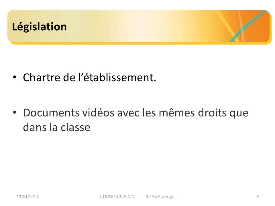 12/01/2011UTILISER UN E.N.T. - ICFP dAuvergne6 Législation Chartre de létablissement. Documents vidéos avec les mêmes droits que dans la classe