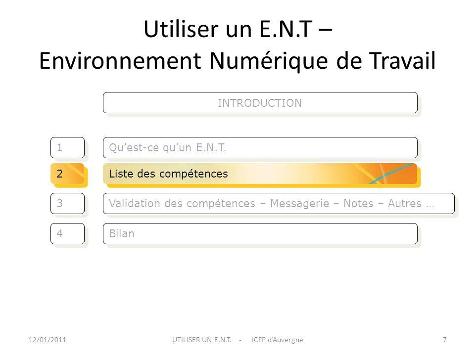 Utiliser un E.N.T – Environnement Numérique de Travail Validation des compétences – Messagerie – Notes – Autres … Quest-ce quun E.N.T. 3 3 1 1 Bilan 4
