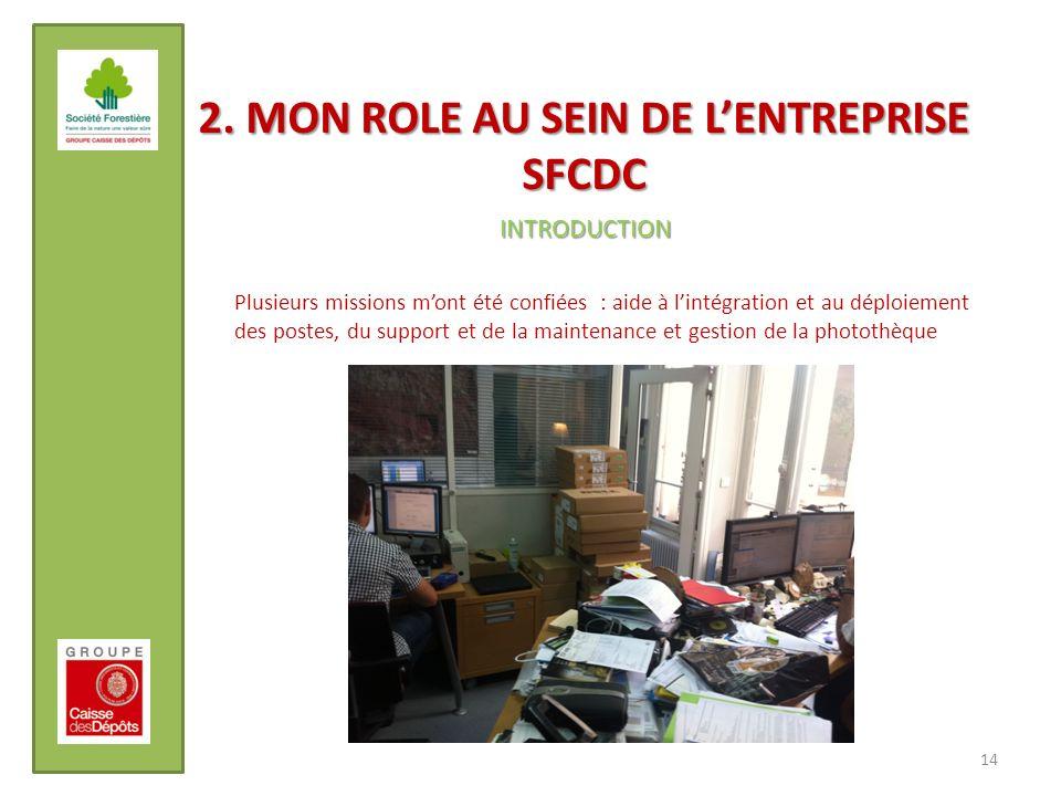 2. MON ROLE AU SEIN DE LENTREPRISE SFCDC 14 INTRODUCTION Plusieurs missions mont été confiées : aide à lintégration et au déploiement des postes, du s