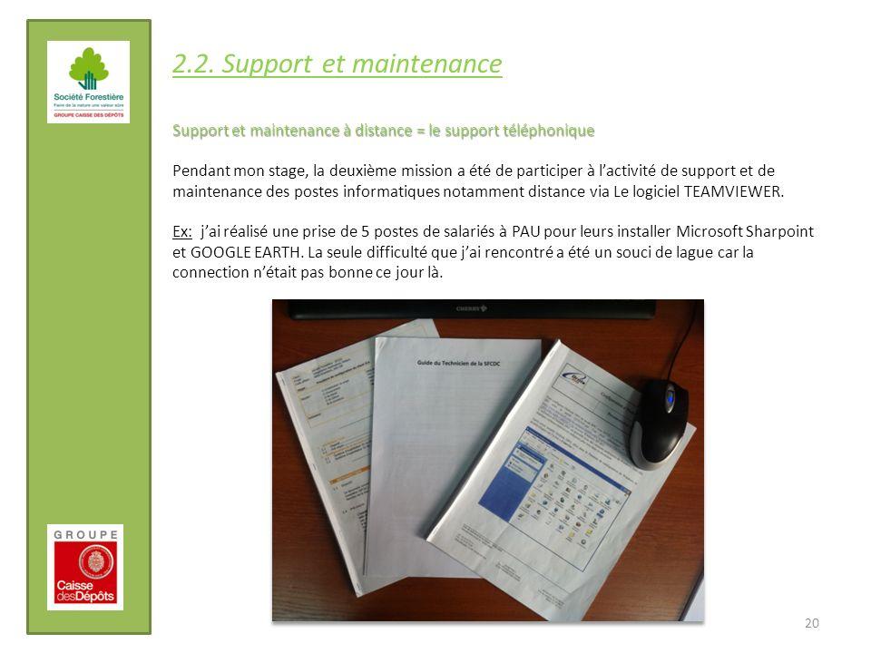20 2.2. Support et maintenance Support et maintenance à distance = le support téléphonique Pendant mon stage, la deuxième mission a été de participer