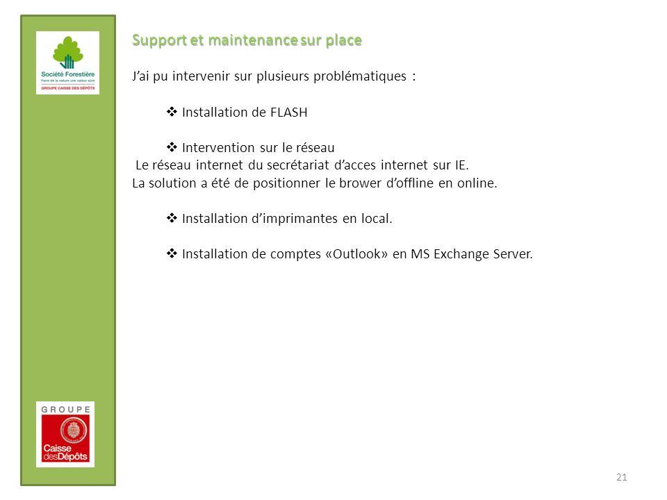 21 Support et maintenance sur place Jai pu intervenir sur plusieurs problématiques : Installation de FLASH Intervention sur le réseau Le réseau intern