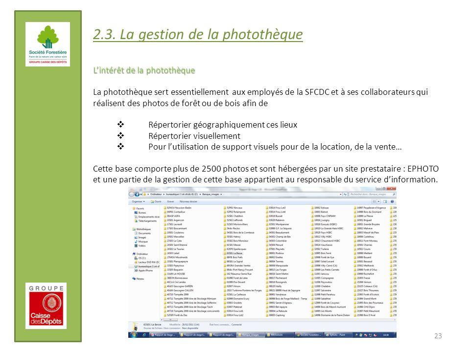 23 2.3. La gestion de la photothèque Lintérêt de la photothèque La photothèque sert essentiellement aux employés de la SFCDC et à ses collaborateurs q
