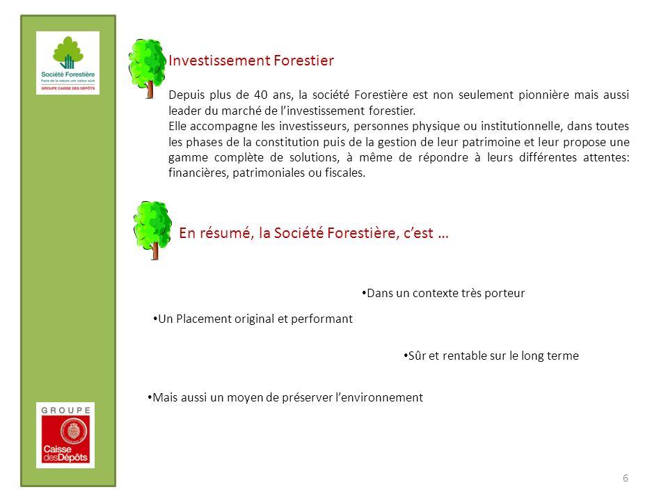 Investissement Forestier Depuis plus de 40 ans, la société Forestière est non seulement pionnière mais aussi leader du marché de linvestissement fores