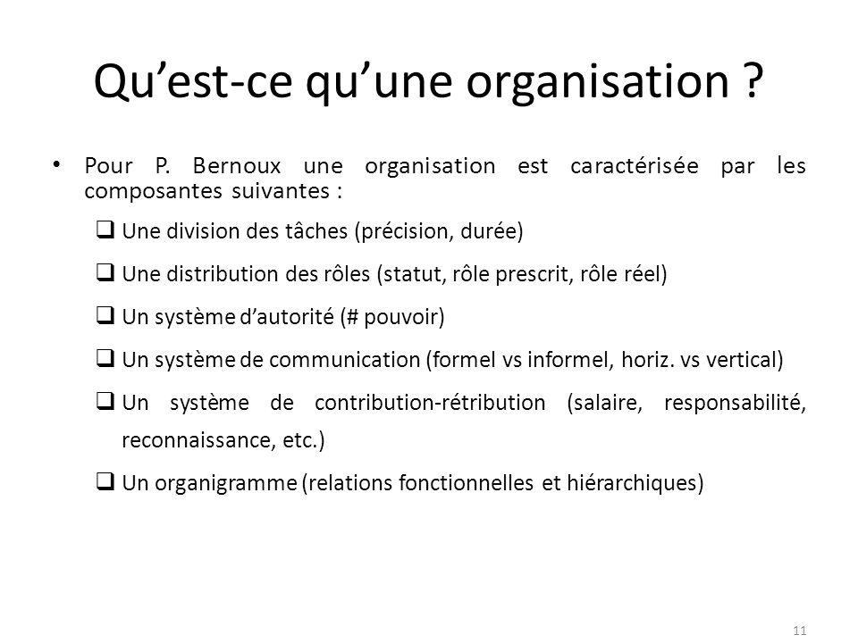 Quest-ce quune organisation ? Pour P. Bernoux une organisation est caractérisée par les composantes suivantes : Une division des tâches (précision, du