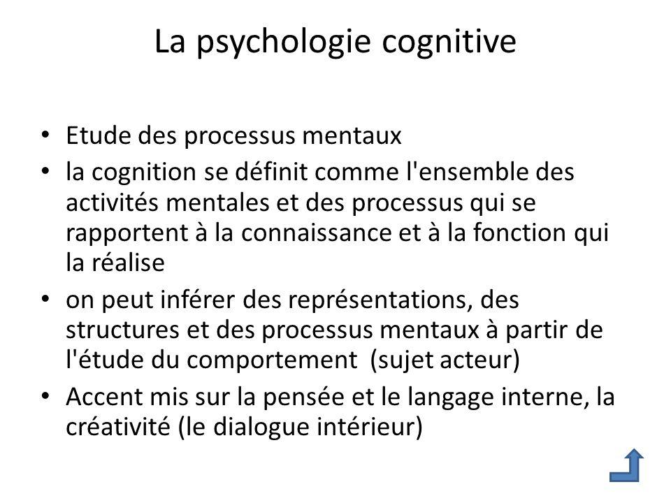 La psychologie cognitive Etude des processus mentaux la cognition se définit comme l'ensemble des activités mentales et des processus qui se rapporten