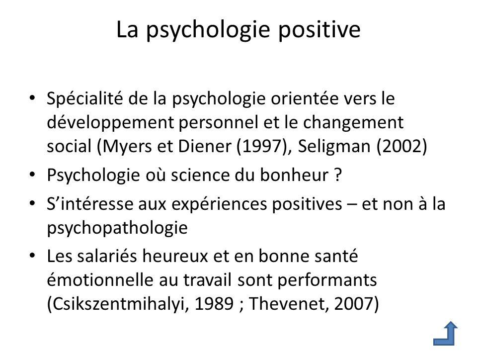 La psychologie positive Spécialité de la psychologie orientée vers le développement personnel et le changement social (Myers et Diener (1997), Seligma