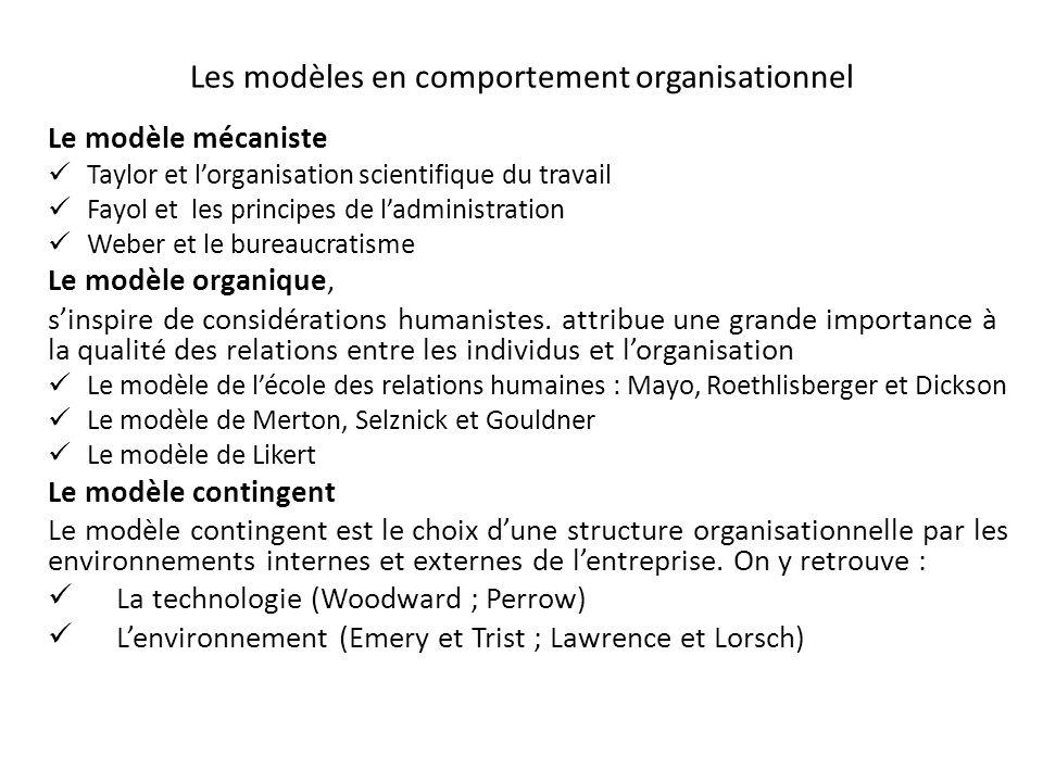 Les modèles en comportement organisationnel Le modèle mécaniste Taylor et lorganisation scientifique du travail Fayol et les principes de ladministrat