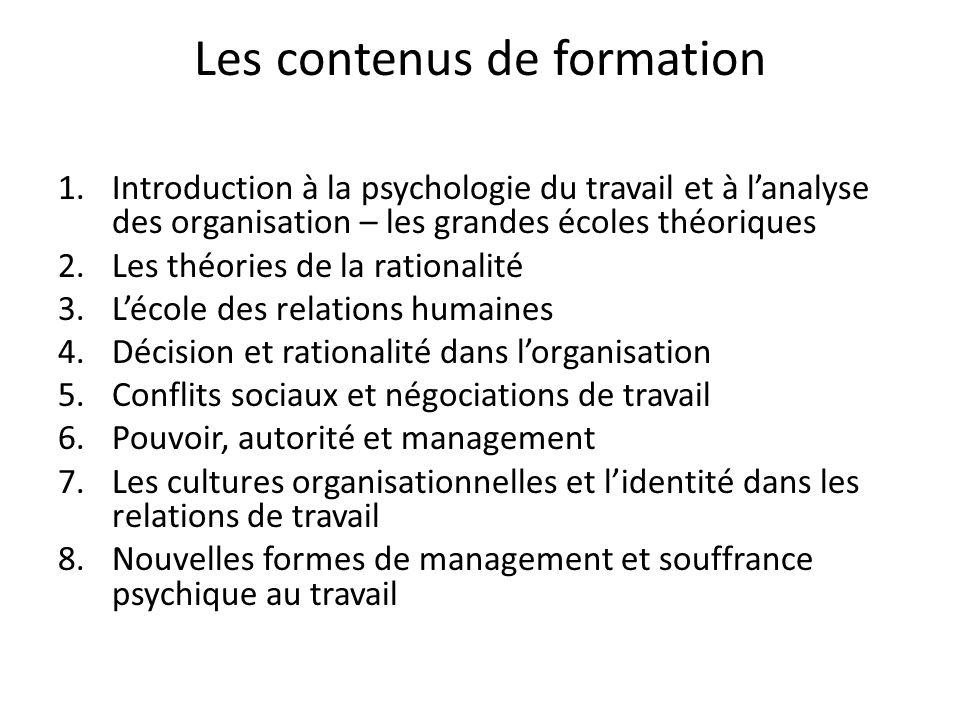 Les contenus de formation 1.Introduction à la psychologie du travail et à lanalyse des organisation – les grandes écoles théoriques 2.Les théories de