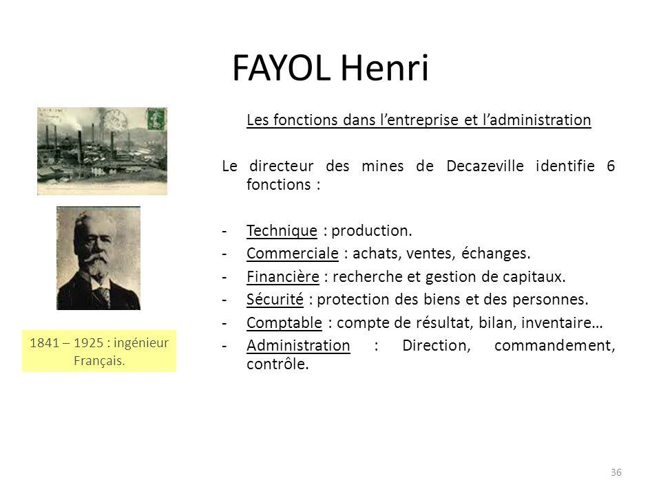 36 FAYOL Henri Les fonctions dans lentreprise et ladministration Le directeur des mines de Decazeville identifie 6 fonctions : -Technique : production